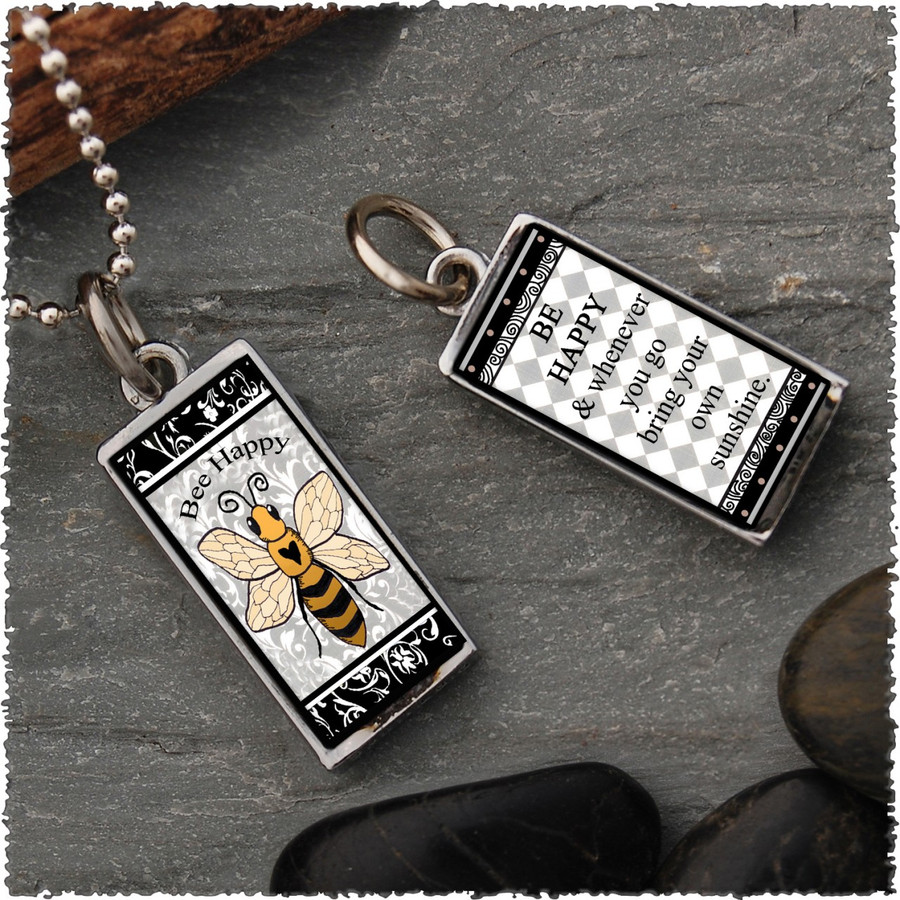 Bee Reversible Rectangular Pendant