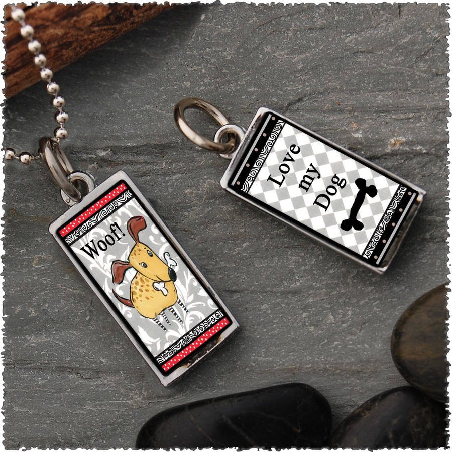 Dog Reversible Rectangular Pendant