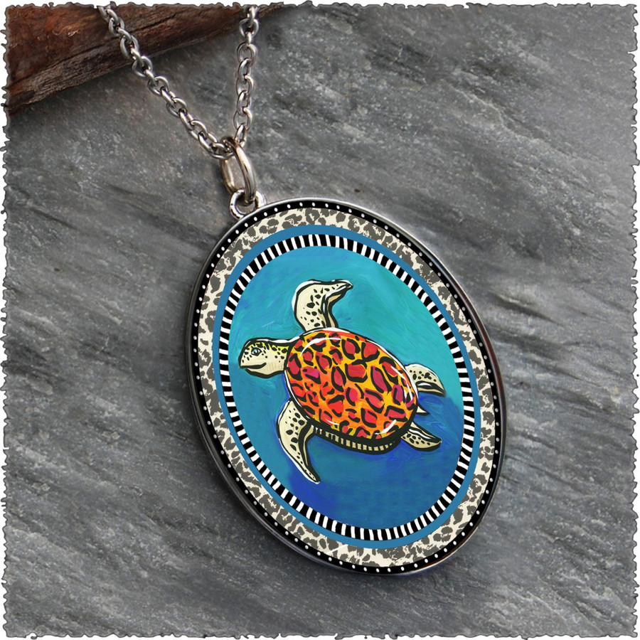 Blue Turtle Reversible Silver Oval Pendant