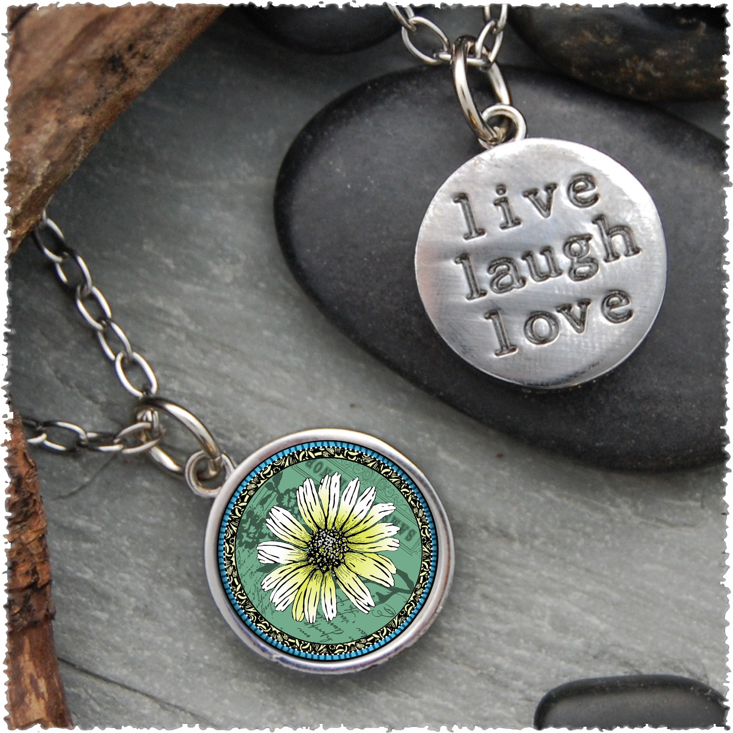 """Live, Laugh, Love"" Pendants"