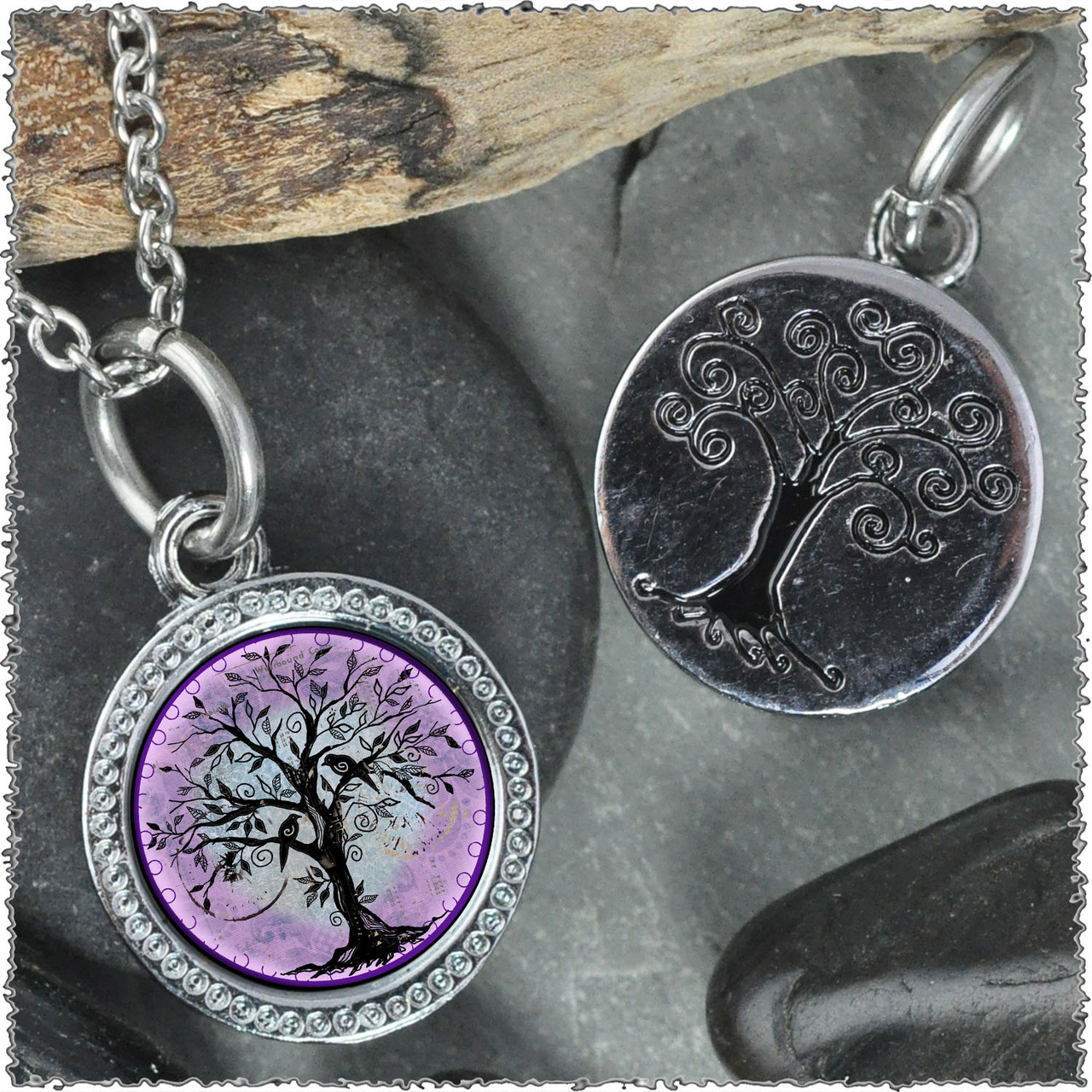 magic tree of life circle marty store silver pendant