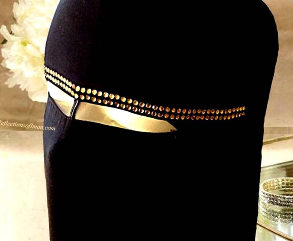 Khaleeji Black Niqab with Gold Stones