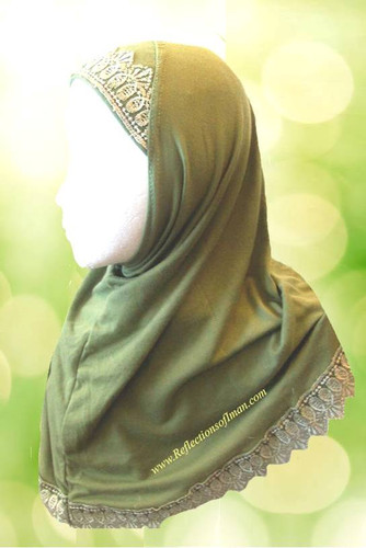Girls 1 piece Al Amira Green Lace Hijab