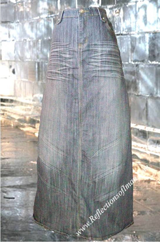 Whiskering Long Denim Skirt