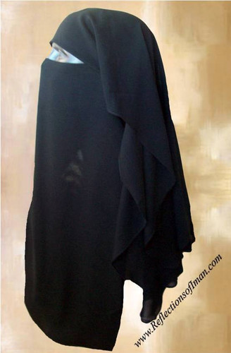 Saudi Triple Layer Black Scallop Niqab