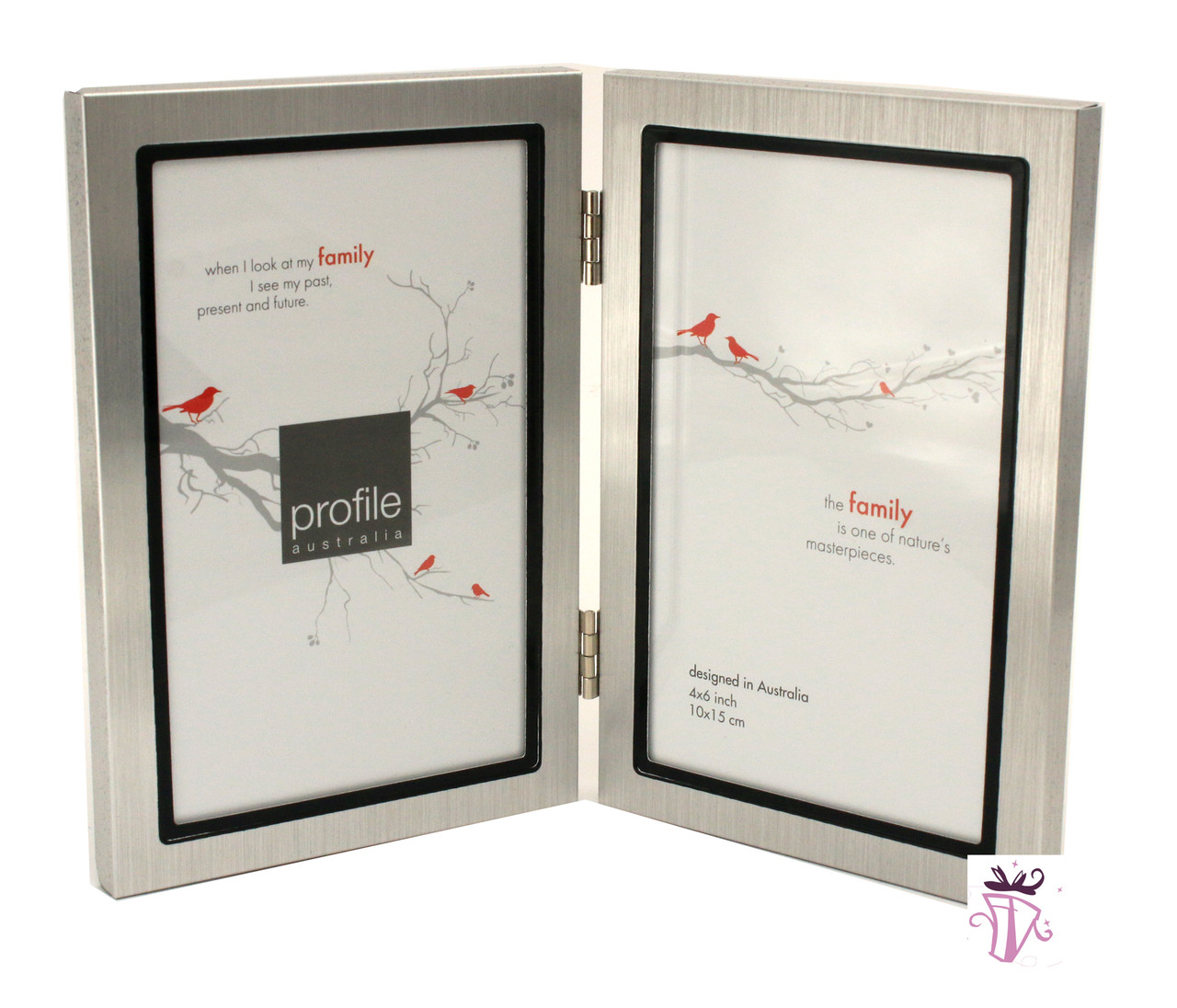 Double Silver 4 x 6 in Vertical Photo Frame - Beautiful Frames ...