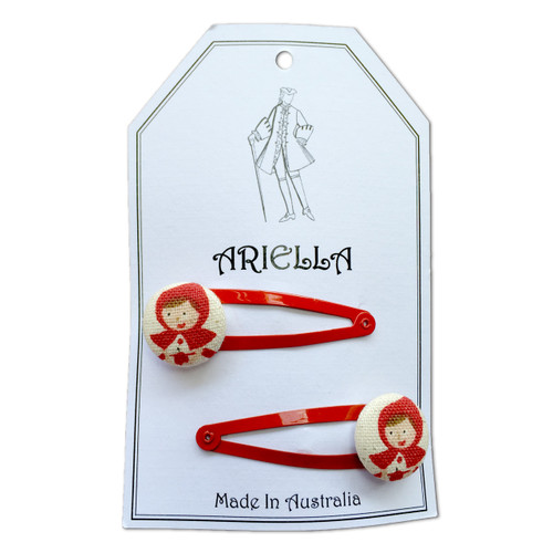 Ariella Red Riding Hood Hair Clips Red