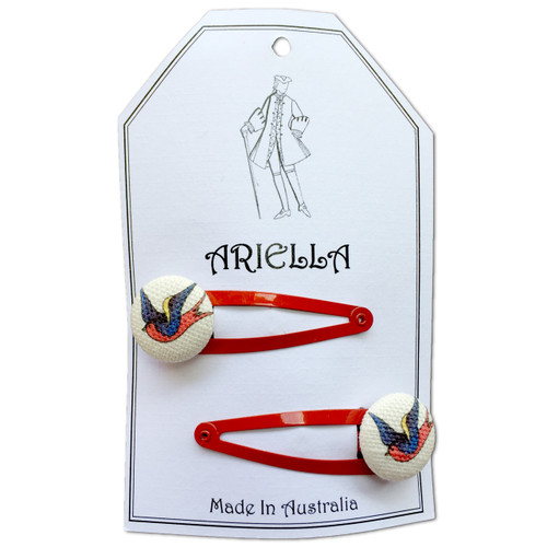 Ariella Bird Hair Clips Red