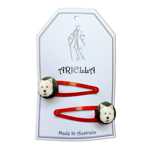 Ariella Terrier Hair Clips Red