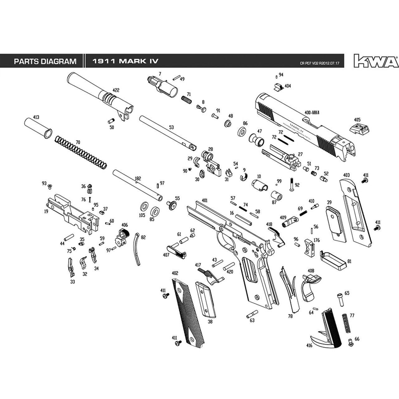 Image Result For 1911 Exploded Parts T Kimber Pistol Diagram Of Free Download Wiring Diagrams Pictures Kwa Airsoft Mk Iv Mir Tactical Rh Mirtactical Com Sig Sauer 22 Colt