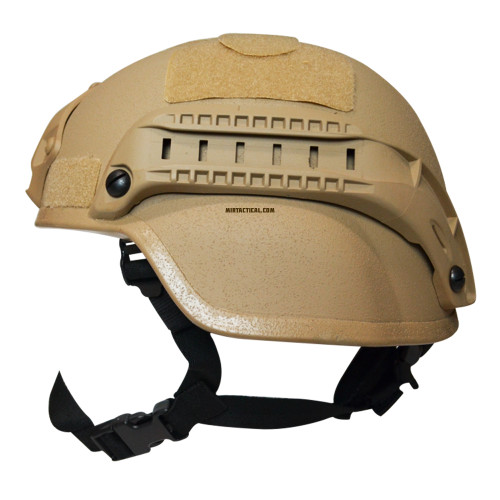 MICH 2000 AIRSOFT HELMET W RAILS TAN