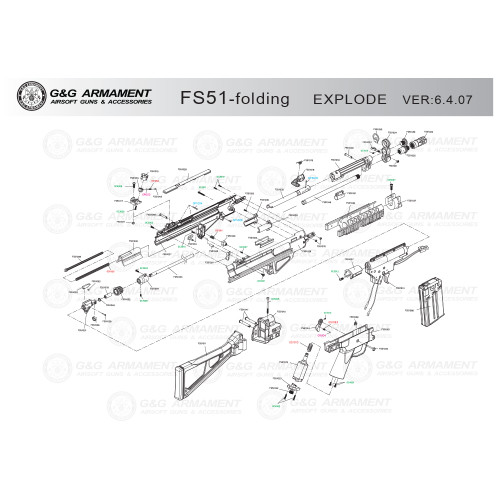 G&G AIRSOFT FS51 FOLDING STOCK RIFLE DIAGRAM