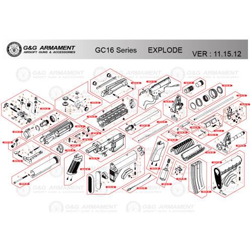 G&G AIRSOFT GC16 SERIES RIFLE DIAGRAM