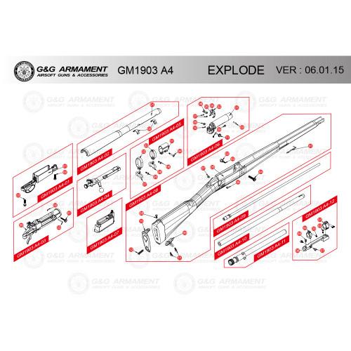 G&G AIRSOFT GM1903 A4 RIFLE DIAGRAM