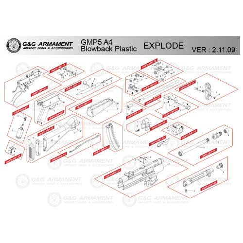 G&G AIRSOFT GMP5 A4 BLOWBACK PLASTIC RIFLE DIAGRAM