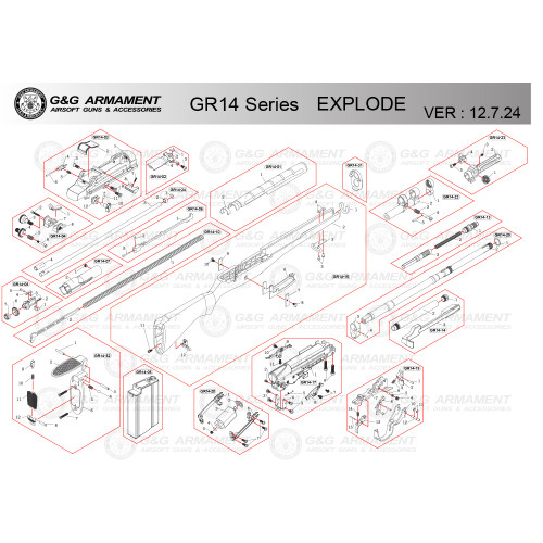 G&G AIRSOFT GR14 SERIES RIFLE DIAGRAM