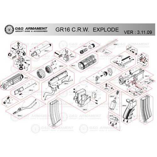 G&G AIRSOFT GR16 CRW RIFLE DIAGRAM