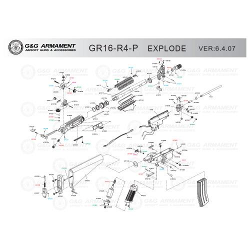 G&G AIRSOFT GR16-R4-P RIFLE DIAGRAM