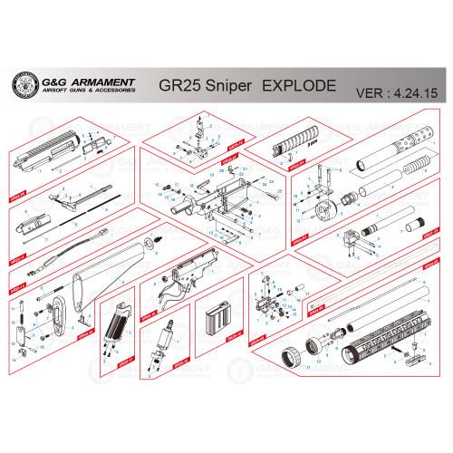 G&G AIRSOFT GR25 SNIPER RIFLE DIAGRAM