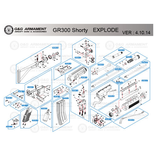 G&G AIRSOFT GR300 SHORTY RIFLE DIAGRAM