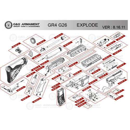 G&G AIRSOFT GR4 G26 RIFLE DIAGRAM