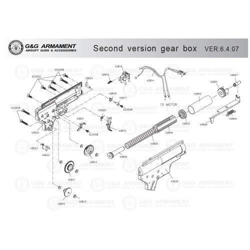 G&G AIRSOFT SECOND VERSION GEARBOX DIAGRAM