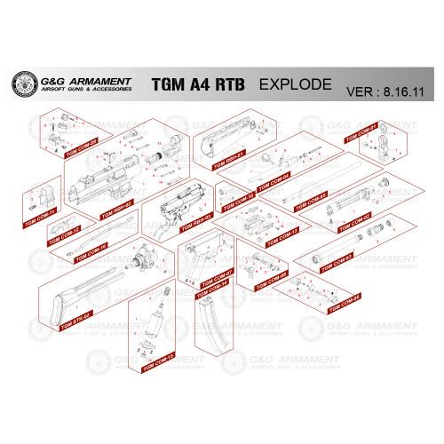 G&G AIRSOFT TGM A4 RTB RIFLE DIAGRAM