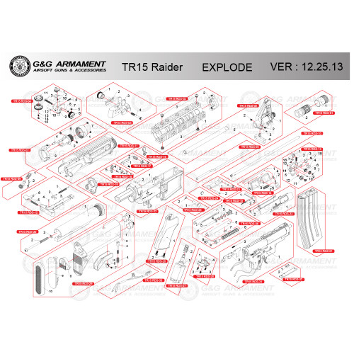 G&G AIRSOFT TR15 RAIDER RIFLE DIAGRAM
