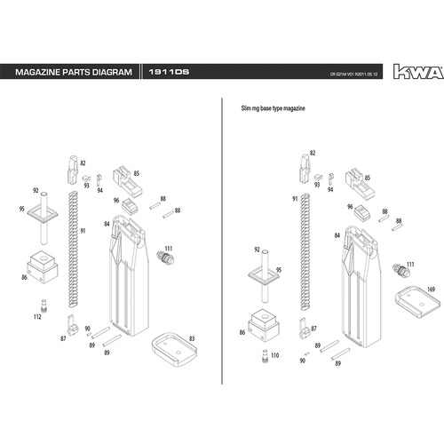 Kwa Airsoft 1911 Ds Pistol Magazine Diagram Mir Tactical