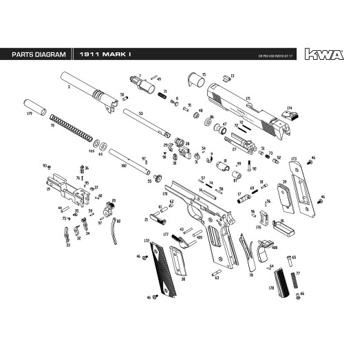 KWA AIRSOFT 1911 MARK I PISTOL DIAGRAM