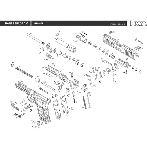 KWA AIRSOFT HK45 PISTOL DIAGRAM