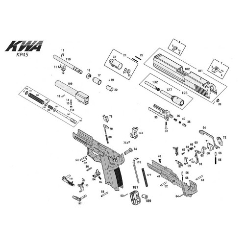KWA AIRSOFT KP45 PISTOL DIAGRAM