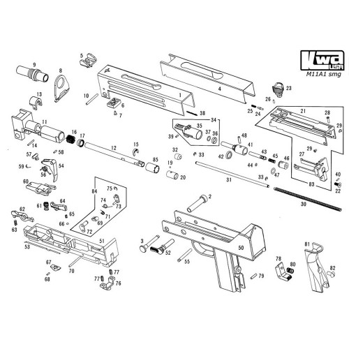 KWA AIRSOFT M11A1 SMG RIFLE DIAGRAM