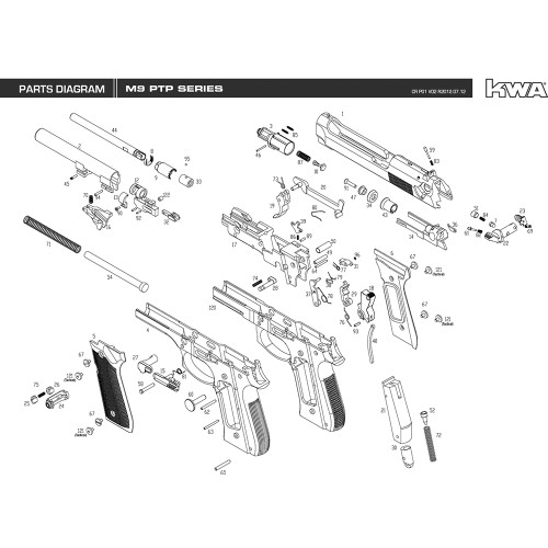 KWA AIRSOFT M9 PTP SERIES PISTOL DIAGRAM