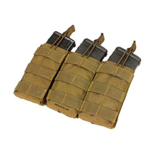 TRIPLE OPEN TOP M4/M16 MAG POUCH COY