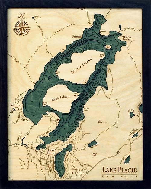 Lake Placid, NY -  Wood Chart - Framed Art