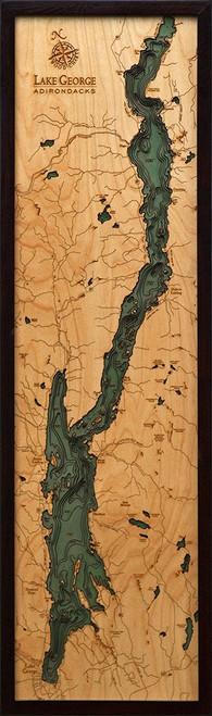 Lake George - Wood Chart - Framed Art