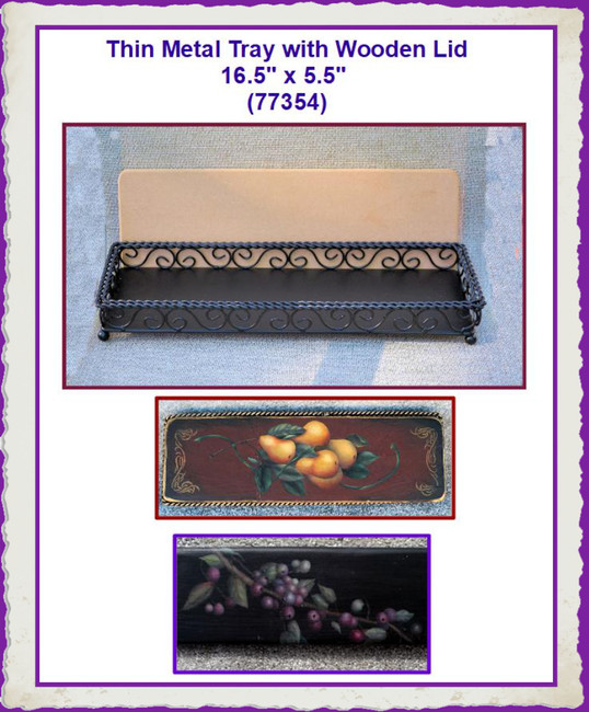 """Tray - Thin Metal Tray with Wooden Lid 16.5"""" x 5.5"""" x 1.5 """"(773544)"""