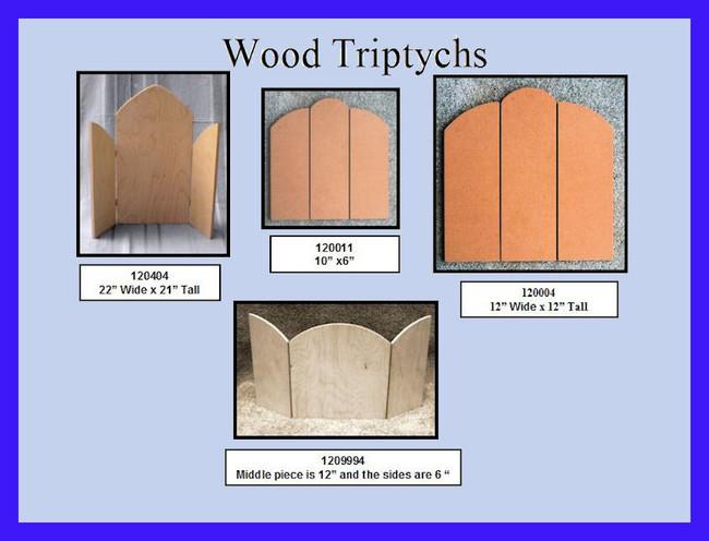 Wood - Triptych 4 Sizes (120404, 120011, 120004, 120994)