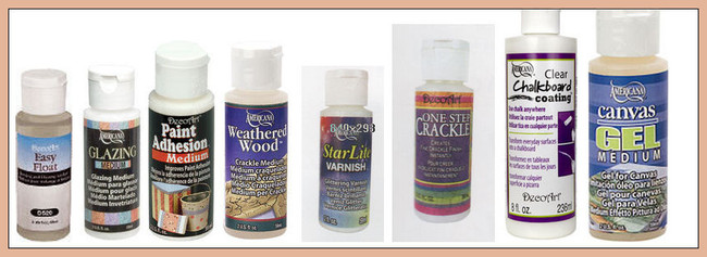 Paints - DecoArt Mediums - Easy Float, Glazing Medium, Weathered Wood, Starlite Varnish, One Step Crackle, Clear Chalkboard Coating, Canvas Gel