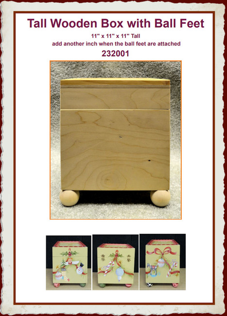 Wood - Box, Tall with Ball Feet (232001)