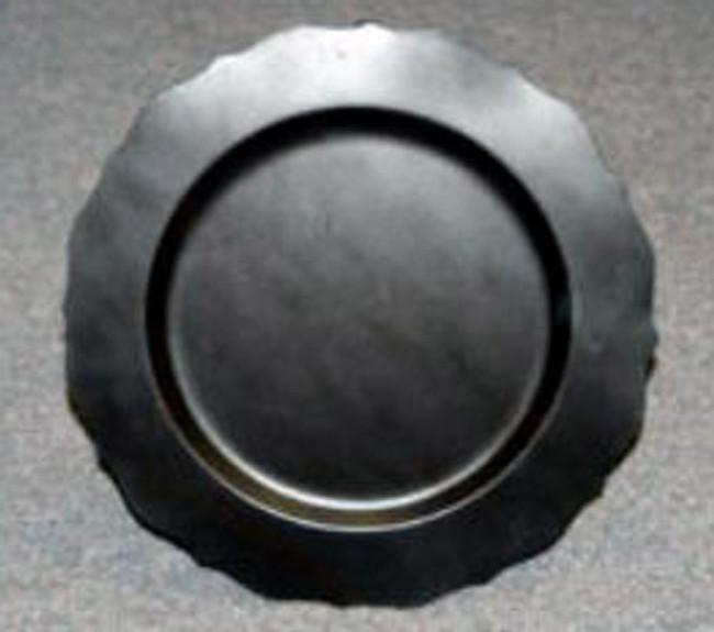 "12"" Black Metal Scalloped Plate"