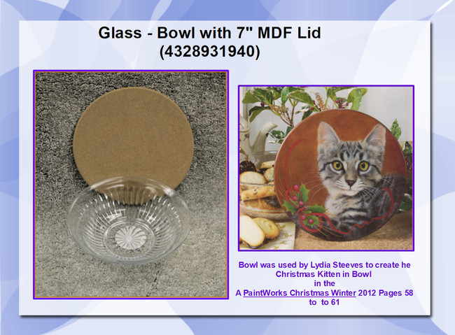 "Glass - Bowl with 7"" MDF Lid (4328931940)"