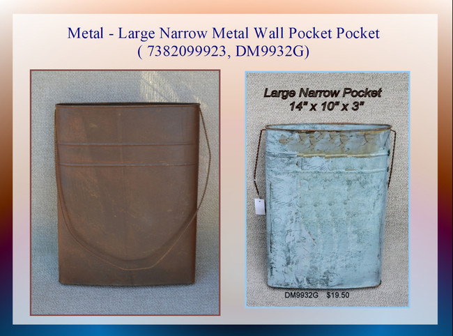 Metal - Large Narrow Metal Wall Pocket Pocket ( 7382099923, DM9932G)
