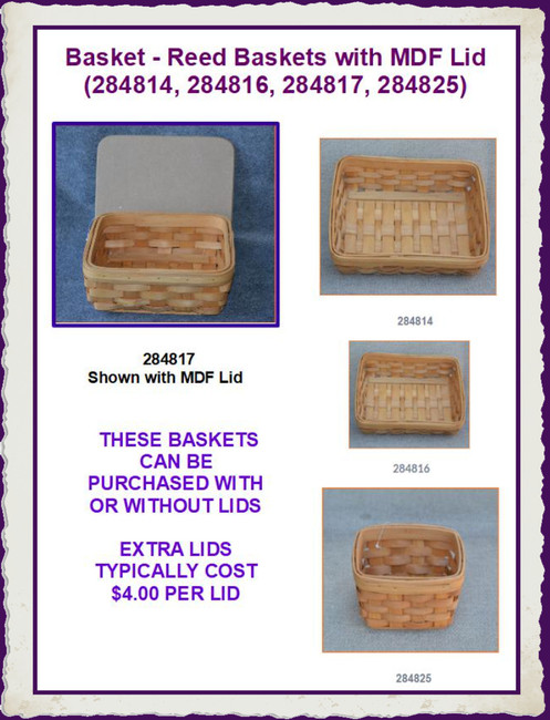 Basket - Reed Baskets with MDF Lid (284814, 284816, 284817, 284825)