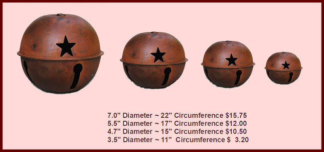 "Metal - Bells, Rusty Round - 3.5', 4.7"",  5.5"",  7"" (T2131X.X)"