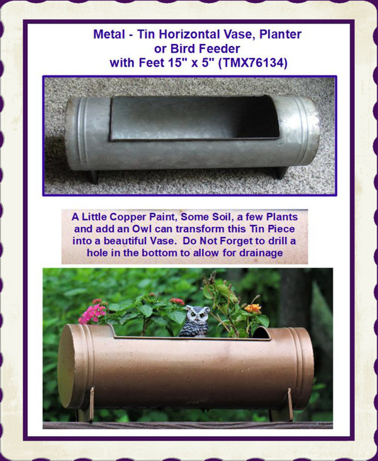 "Metal - Tin Horizontal Vase, Planter or Bird Feeder with Feet  15"" x 5"" (TMX76134)"