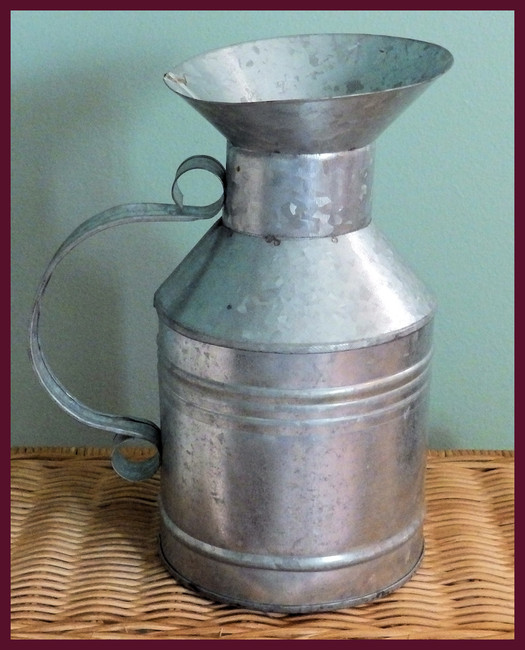"Metal - Tin Pitcher 9"" Tall 5"" Base (T1447)"