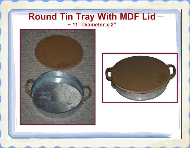 "Tray - Round Tin Tray with MDF Lid ~11"" x 2"" (TMA87545)"