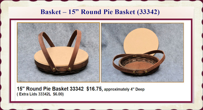 "Basket - Round Pie Basket ~15"" (33342)"